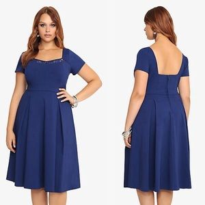 Torrid Blue Swing Dress with Lace Size 28 NWT